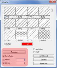 Haustech-CAD: Schraffuren Zuweisen