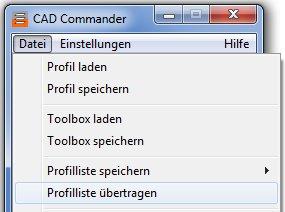 Commander: Profilliste übertragen