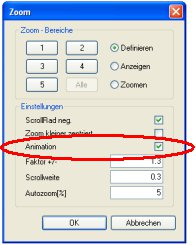 Haustech-CAD Zoomeinstellungen